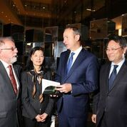 Co-authors of DOING BUSINESS WITH CHINA: THE IRISH ADVANTAGE AND CHALLENGE Cathal McSwiney Brugha, Lan Li and Liming Wang with Micheal Martin TD, leader of Fianna Fail, at the launch of the book in UCD, 27 September 2016