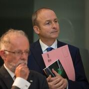 Co-author of DOING BUSINESS WITH CHINA: THE IRISH ADVANTAGE AND CHALLENGE Cathal McSwiney Brugha with Micheal Martin TD, leader of Fianna Fail, at the launch of the book in UCD, 27 September 2016