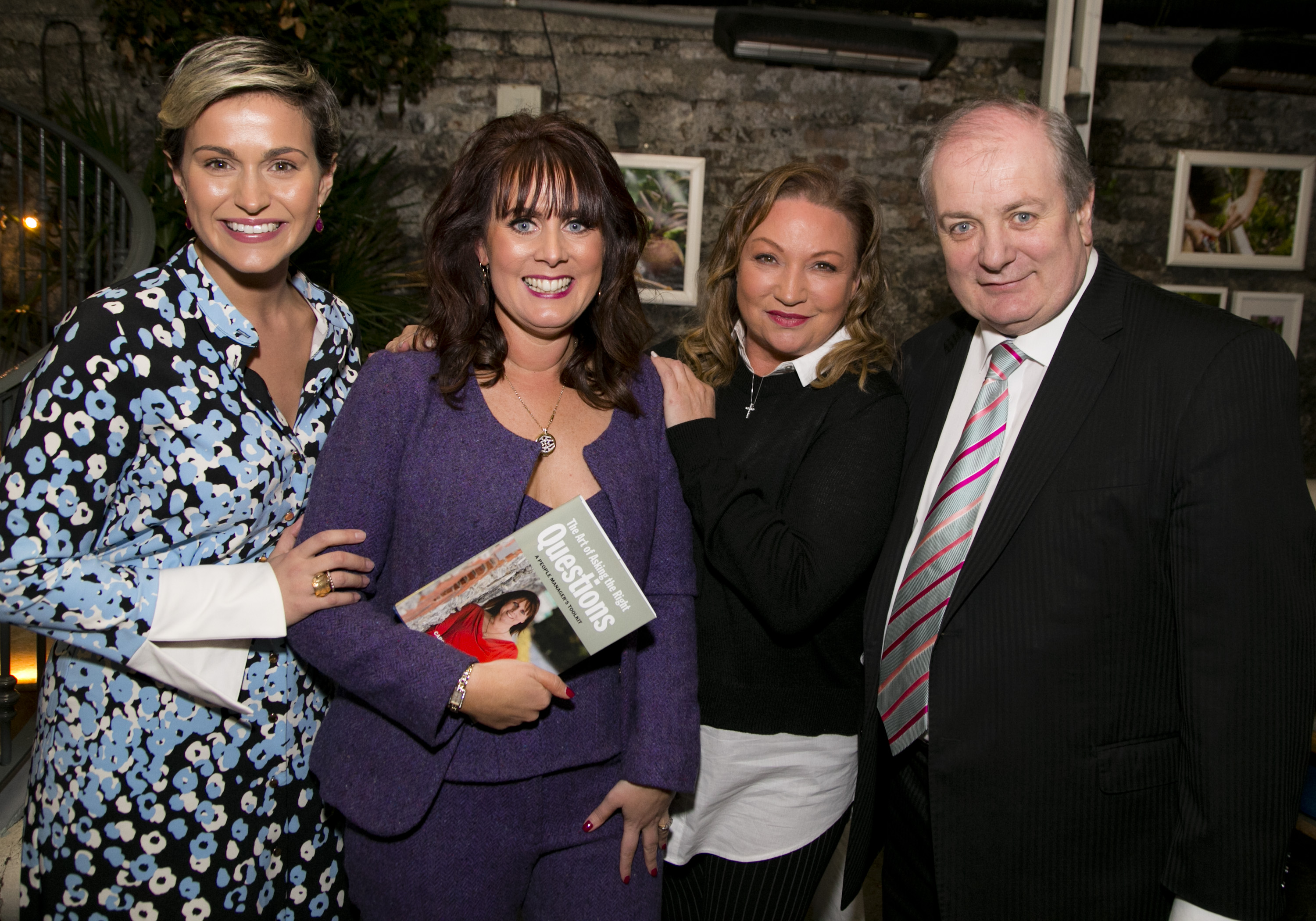 "Caroline McEnery with MC Maria Walsh and ""Dragons"" Norah Casey and Gavin Duffy at the Dublin launch of THE ART OF ASKING THE RIGHT QUESTIONS"